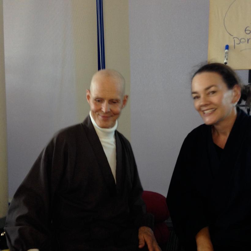 Co-ordinator Kim (r) with Reb Anderson (Oct 2013)